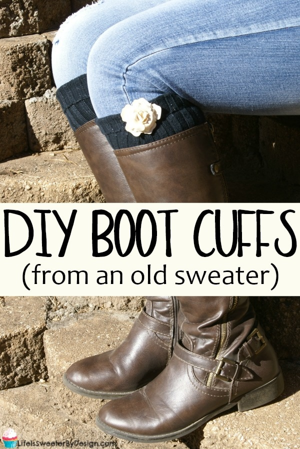 DIY Boot Cuffs are so easy to make and it is a great way to upcycle a sweater! In less than 30 minutes you can have 2 pairs of new boot cuffs to go with your cute boots!