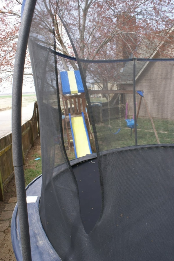 hole in the trampoline enclosure netting