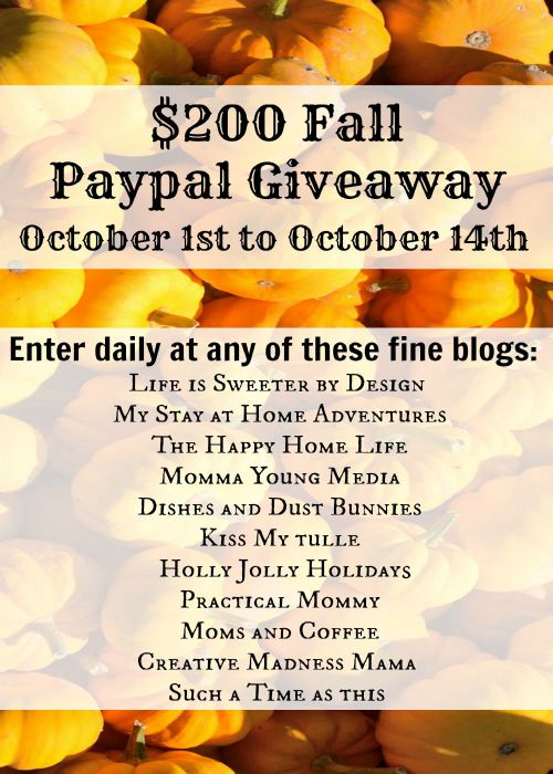 Enter for a chance to win $200 (via PayPal). Enter the $200 PayPal Giveaway. This giveaway ends October 14,2015.