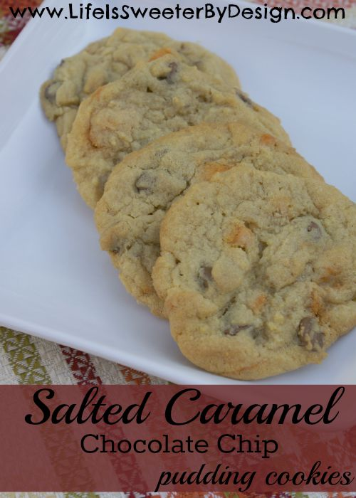 salted caramel and chocolate chip pudding cookies