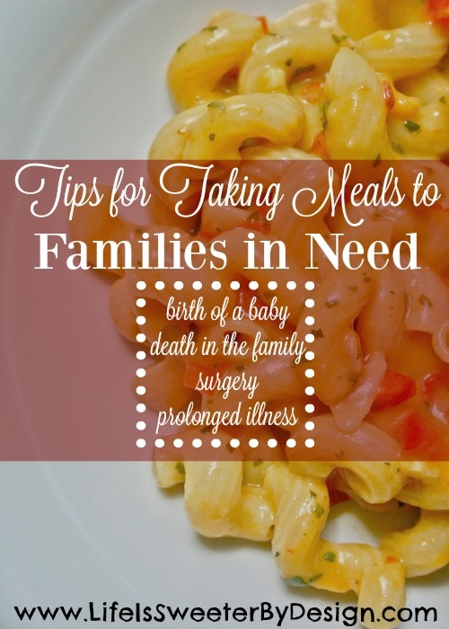 tips for taking meals to families in need
