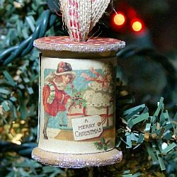 DIY wooden spool ornament