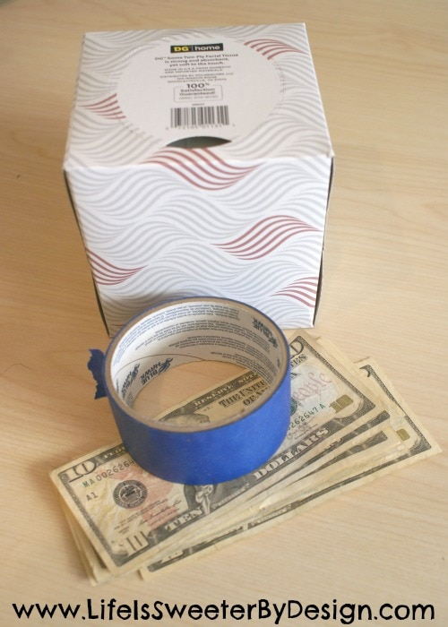cash gift using a tissue box