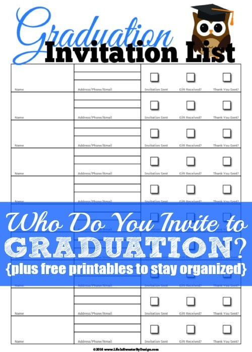 Who Do You Invite to Graduation - Life is Sweeter By Design