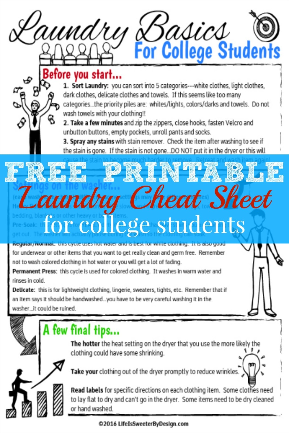 Is your child getting ready to head off to college? Get them ready to do their own laundry with a free printable laundry cheat sheet for college students!