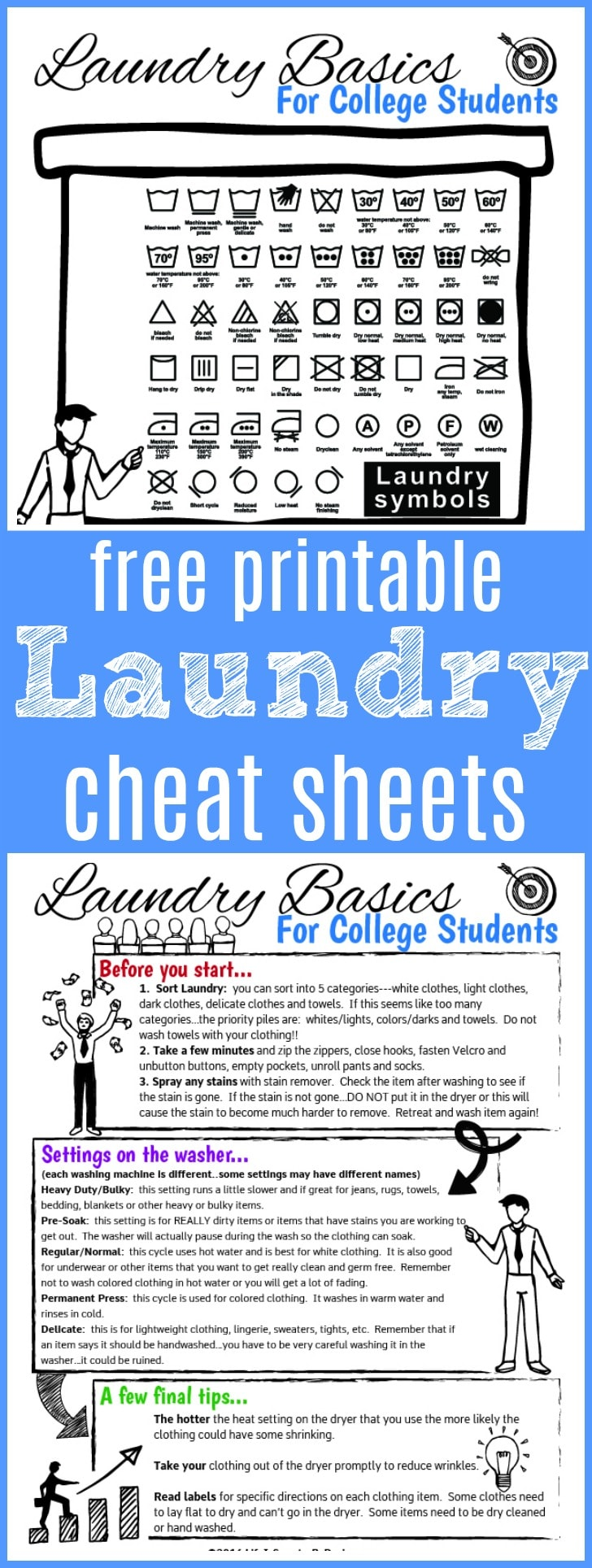 laundry cheat sheets for college students