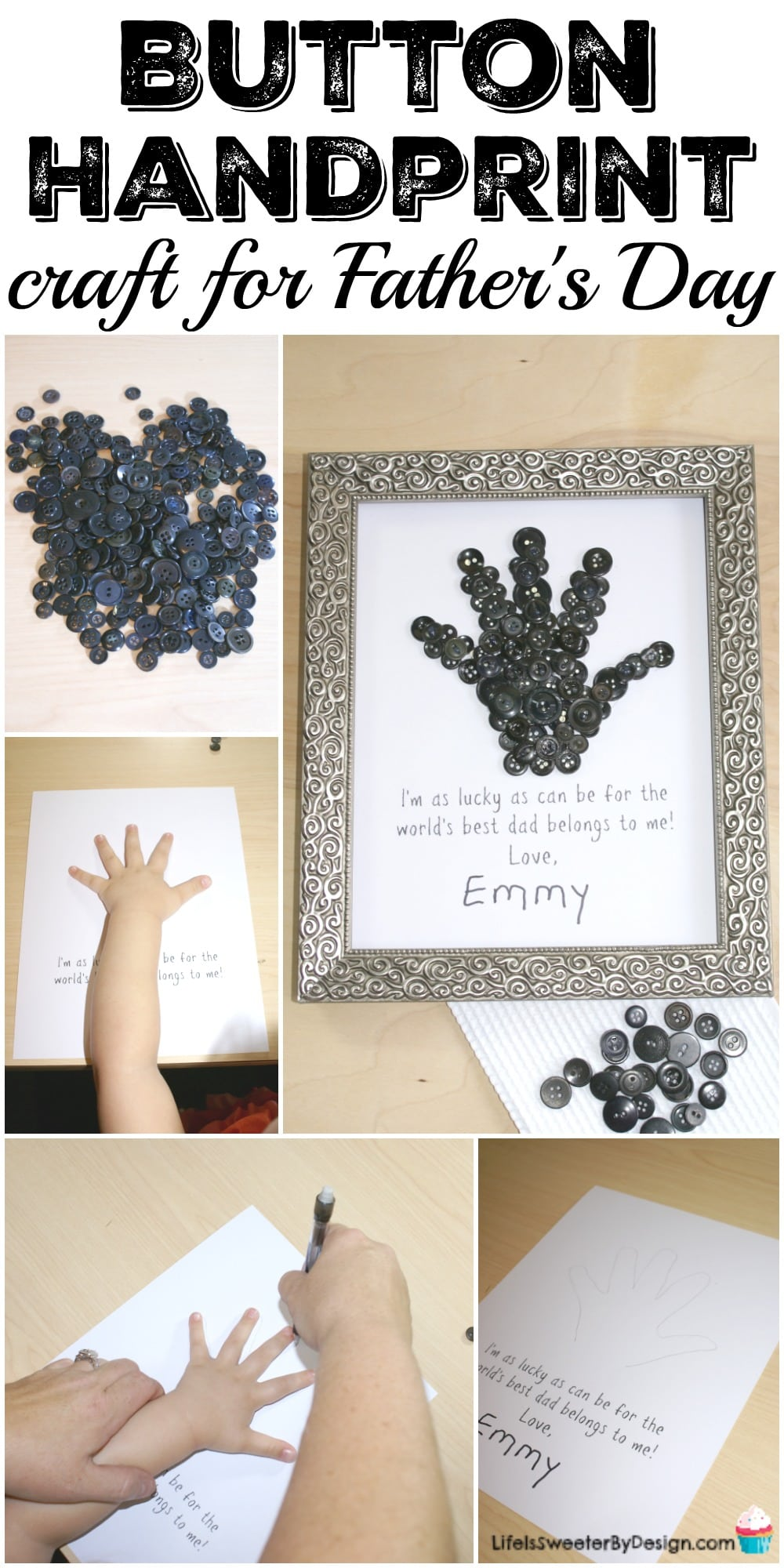 This button handprint craft is fun and easy to make! The DIY project is perfect for a personalized Father's Day gift and even has a free printable to make it simple.
