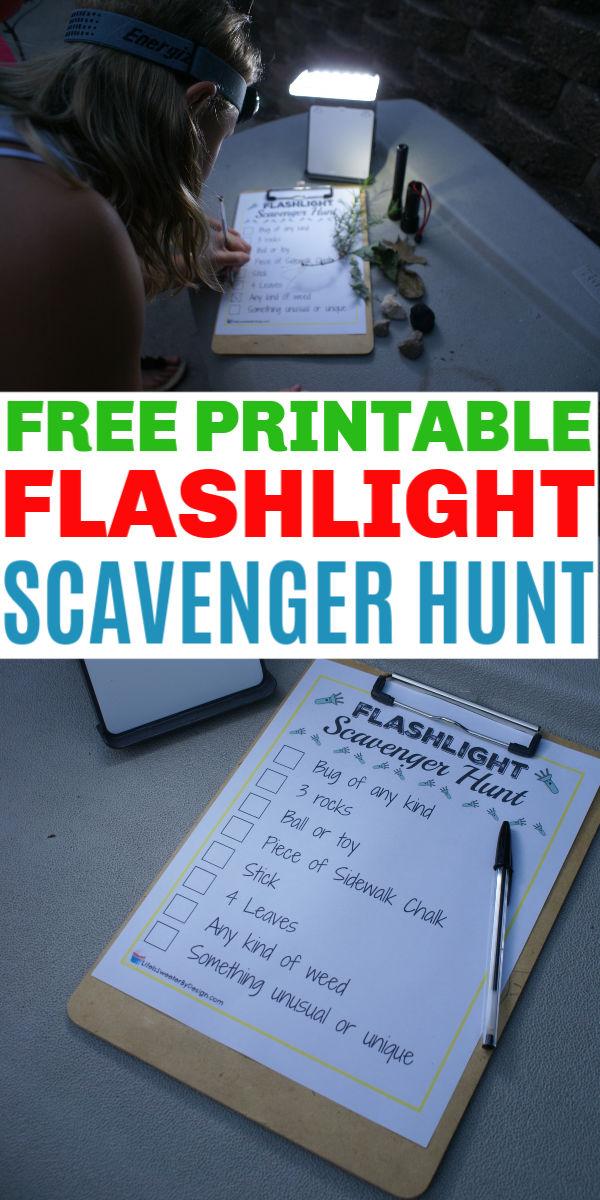 free flashlight scavenger hunt printable