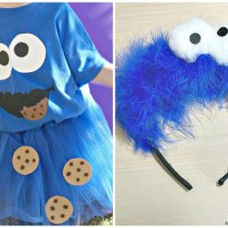 Cookie monster costume at home