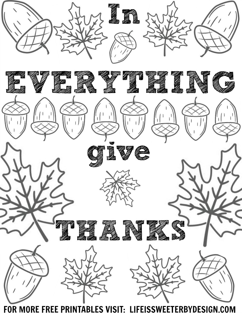 Thanksgiving Color Pages Life is Sweeter By Design – Thanksgiving Coloring Worksheets