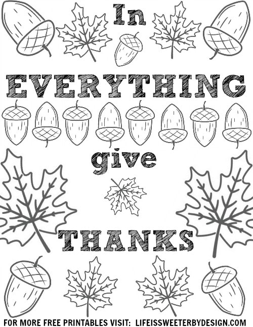 Thanksgiving color pages life is sweeter by design for Coloring pages everything