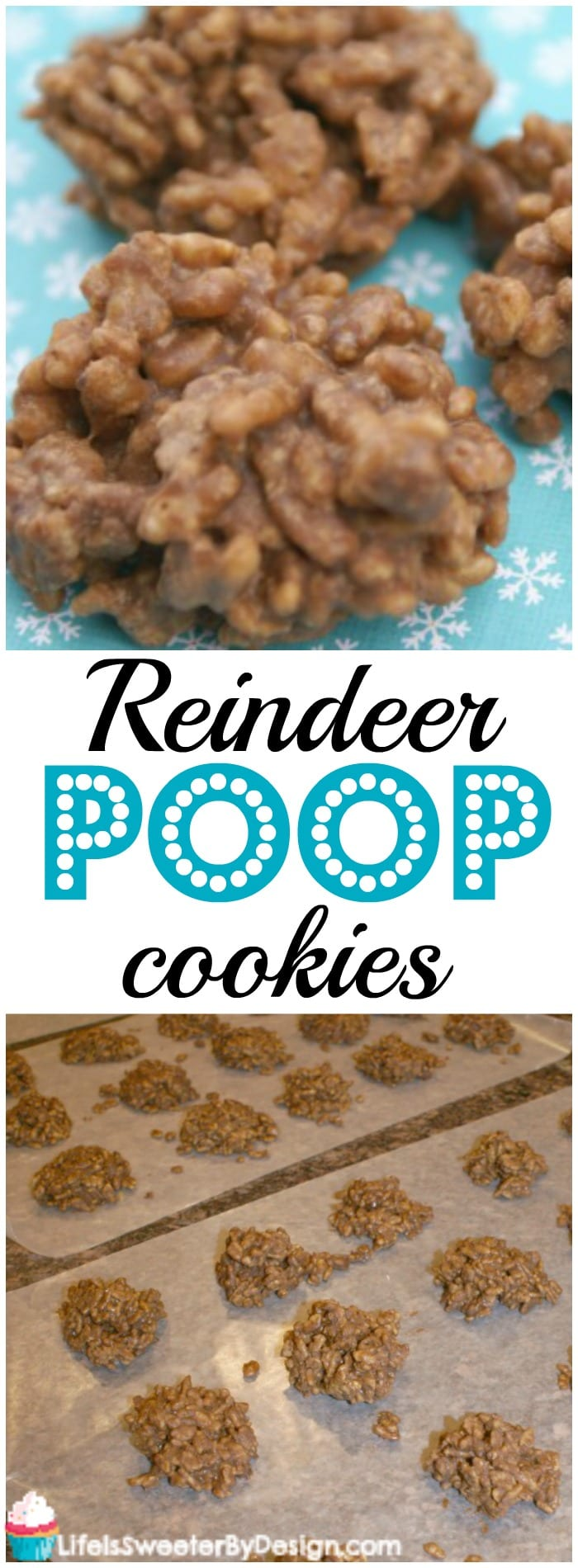 Reindeer Poop Cookies are a simple no bake cookie to make, yummy to eat and a great kid cooking activity for Christmas! These fun Christmas cookies are a hit with kids and adults!