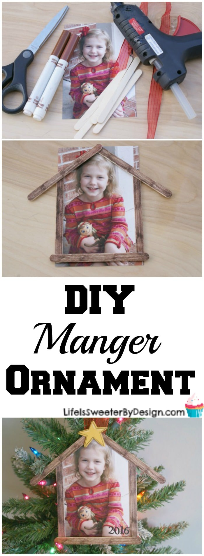 Make a Personalized DIY Manger Ornament for Christmas. This is an easy kid friendly ornament!