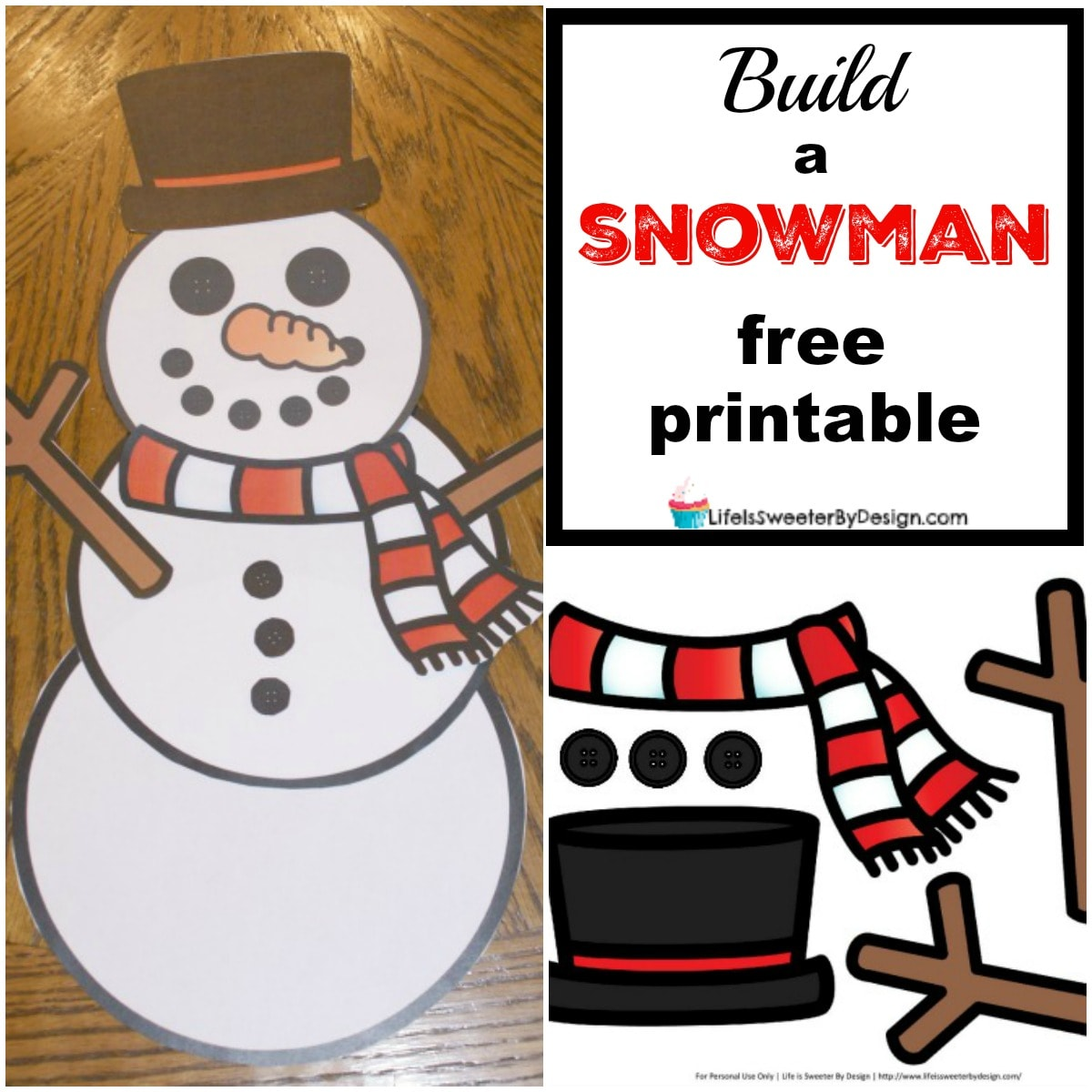 image relating to Free Printable Snowman called Develop a Snowman Totally free Printables - Existence is Sweeter Through Style