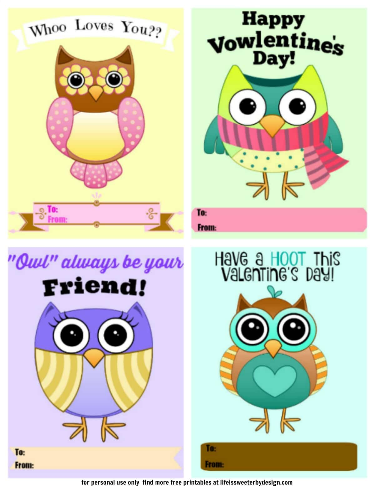 - Owl Valentines Printable - Life Is Sweeter By Design