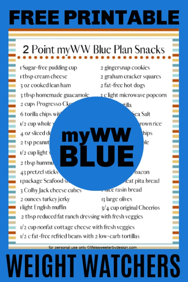 printable 2 point snack ideas for WW blue plan