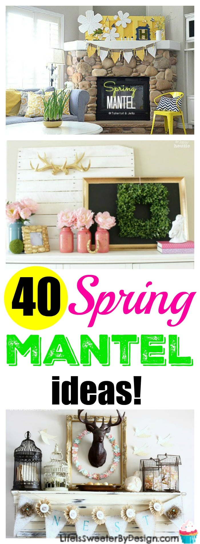 Spring mantel ideas are abounding with 40 amazing ideas.  Decorate your house for Spring with these great mantels. Spring banners, decor and more!