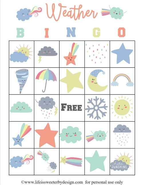 Weather Bingo Cards
