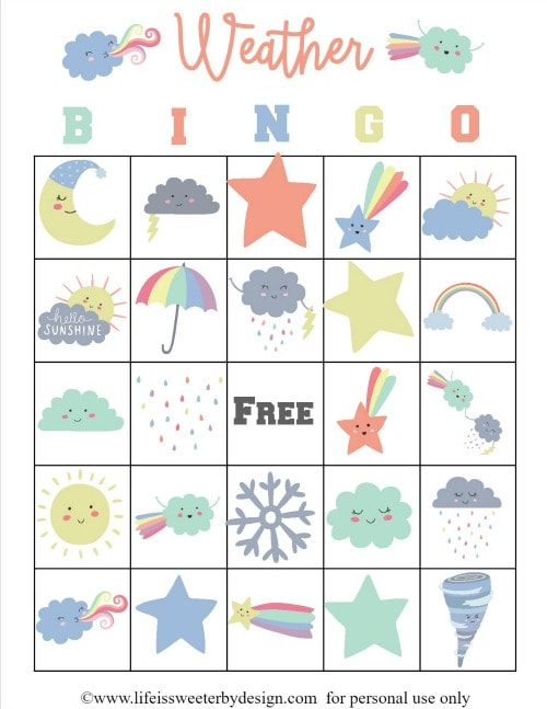 Weather Bingo Free Printable Cards - Life is Sweeter By Design