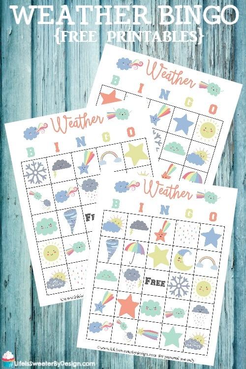 Weather Bingo Cards