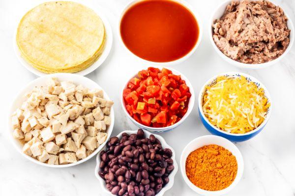 ingredients for Weight Watchers chicken Enchilada Bake casserole