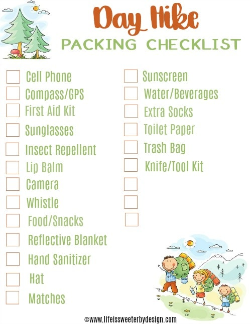 day trip hiking checklist
