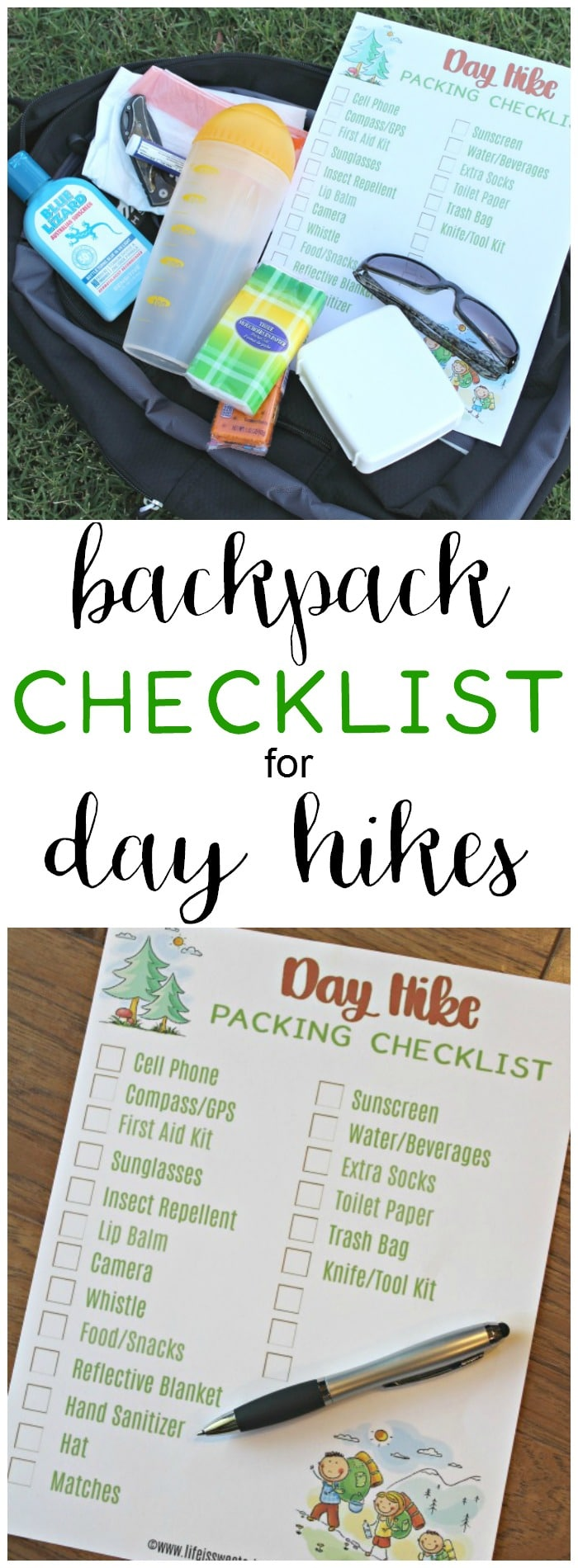 A hiking checklist will help you remember to pack everything you need for day hikes! Get your free printable hiking checklist today. Packing for a hike has never been easier. #ad #BlueLizardSummer