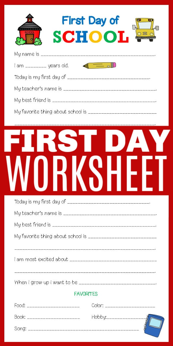 First Day of School Printable Worksheet - Life is Sweeter By ...