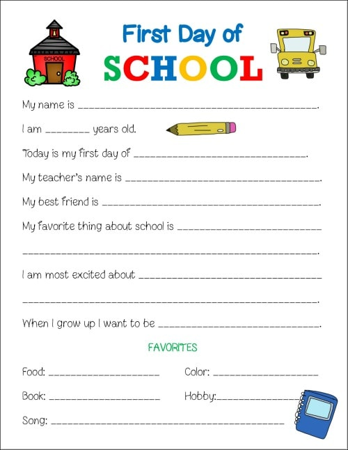 First Day Of School Printable Worksheet  Life Is Sweeter By Design