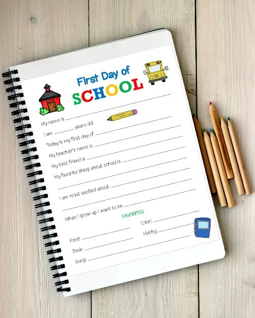 first day of school memory sheet