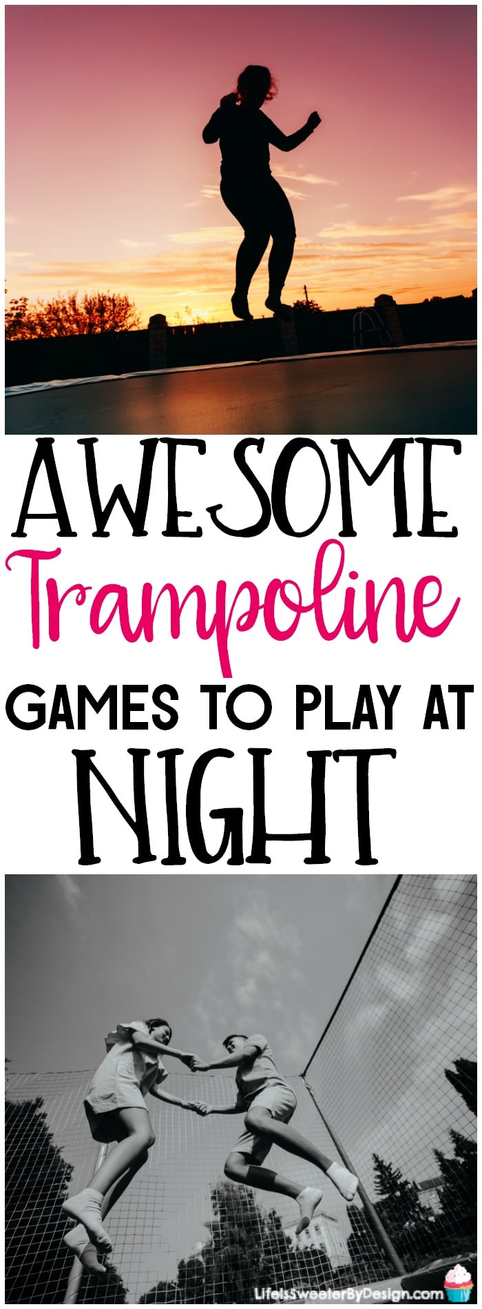 Trampoline games to play at night are so much fun! Try these trampoline games in the dark for some outdoor family fun.