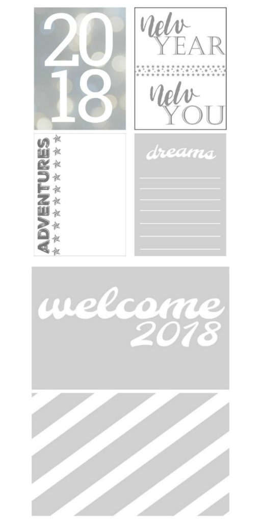 free printable pocket scrapbooking cards for New Years