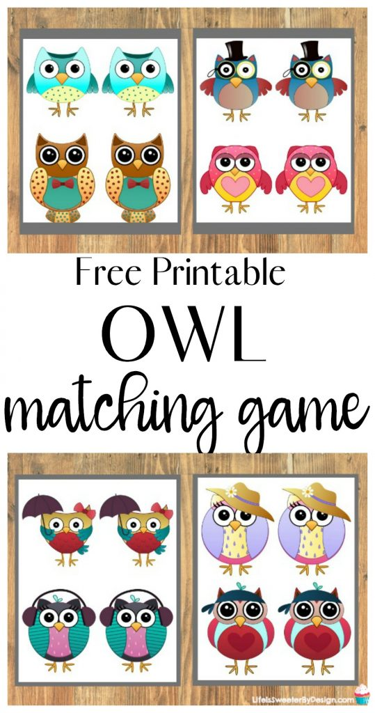 picture regarding Printable Memory Games for Seniors called Owl Memory Video game Printable - Everyday living is Sweeter Via Style and design