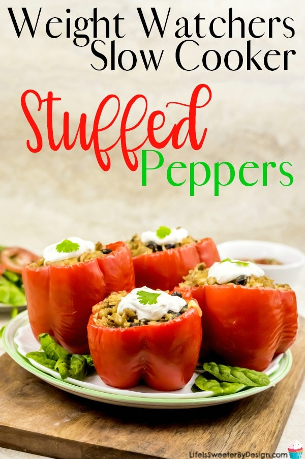 Weight Watchers Slow Cooker Stuffed Peppers are only 5 Freestyle SmartPoints each and are such an easy crock pot recipe. I love Weight Watchers recipes that are filling and easy to make!