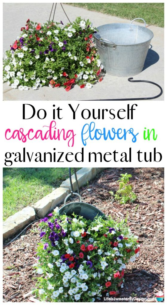 Diy Hanging Flowers In A Metal Bucket Life Is Sweeter By Design