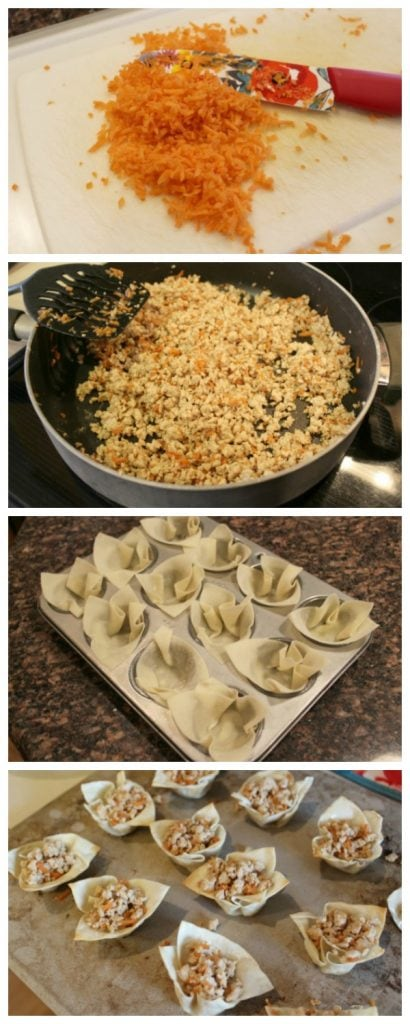 how to make turkey wonton cups