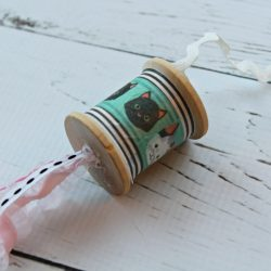 DIY wooden spool cat toy