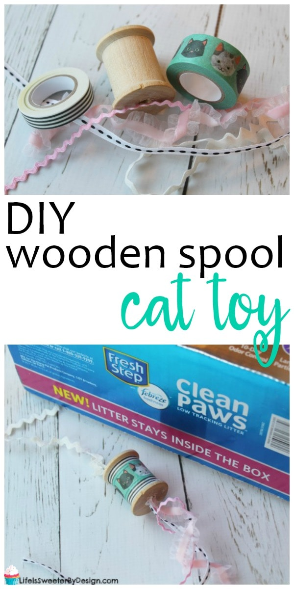 DIY wooden spool cat toy is a quick and easy project. Using a wooden spool, washi tape and ribbon..this is a really cute cat toy!