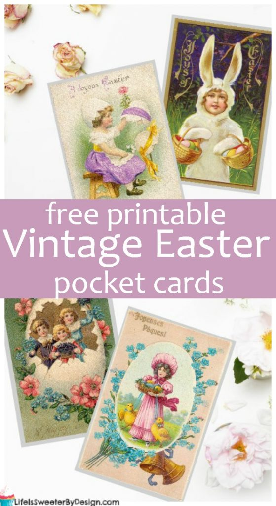 Free printable Vintage Easter pocket cards are perfect for Easter scrapbooking or Project Life. These printable Easter cards are also great for DIY and Easter crafts!