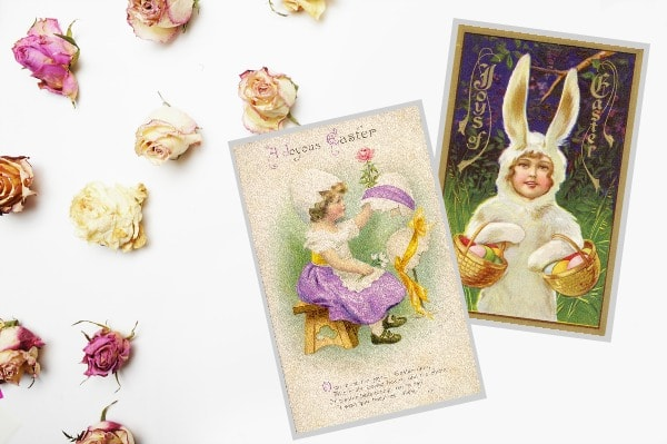 vintage Easter printable pocket cards