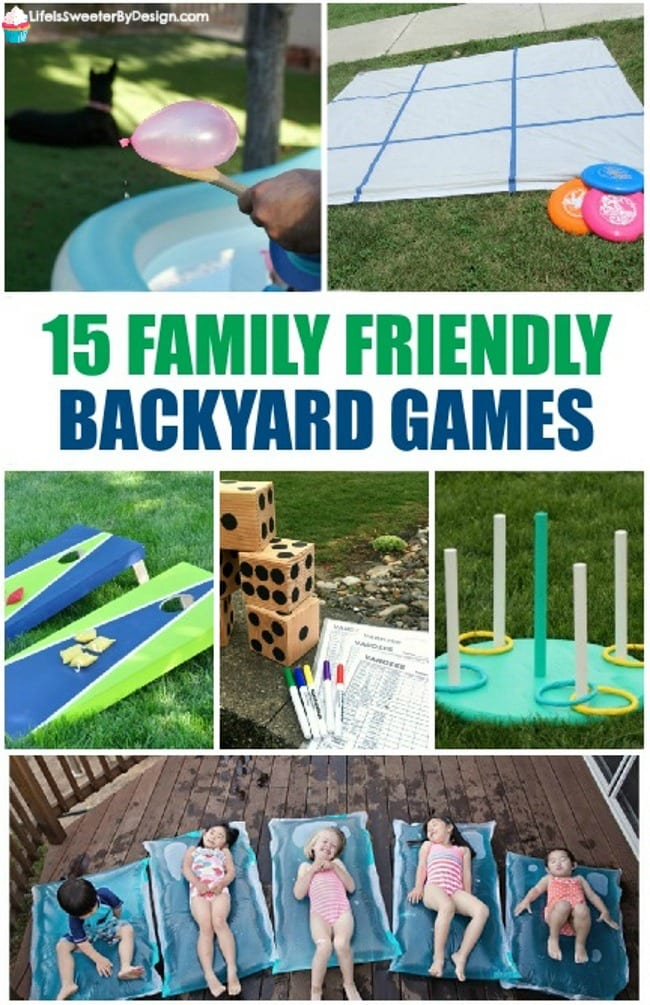 15 family friendly backyard games for the whole family. These DIY outdoor game ideas are perfect for spring and summer family activities.