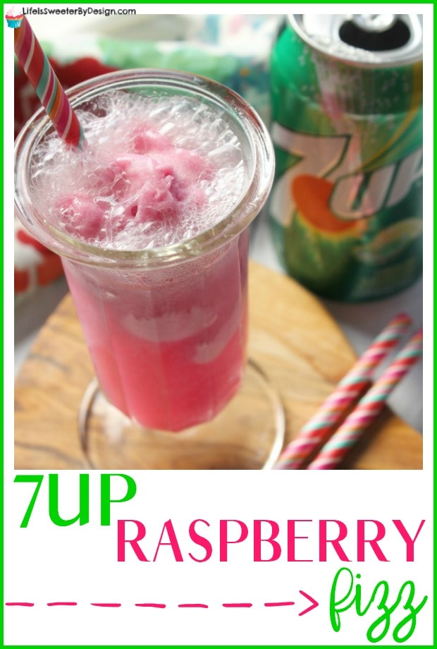 7UP Raspberry Fizz Drink will upgrade your summer for sure. This easy nonalcoholic mocktail is only 2 ingredients and so quick to make. This fizzy drink will be a family favorite.