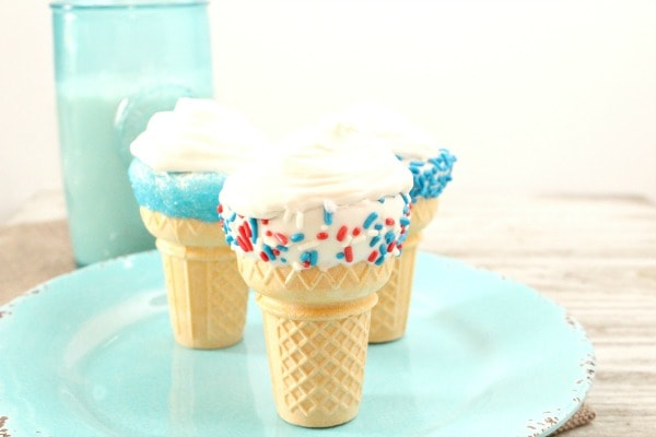 red, white and blue cupcake cones