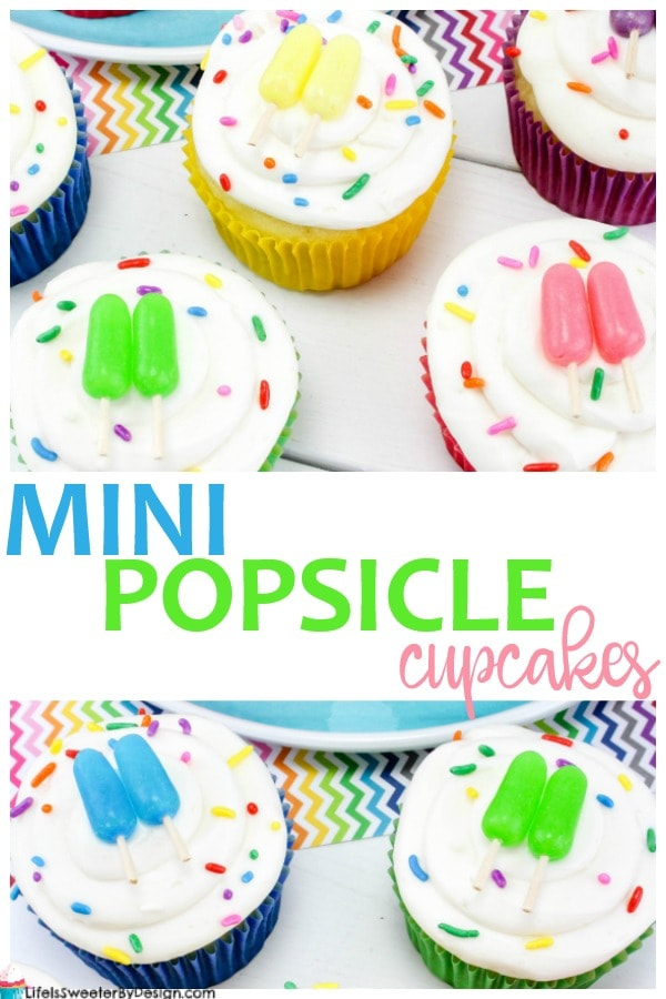 Mini Popsicle Cupcakes are a fun summer treat. This summer cupcake recipe is very easy to make and kids will love it!