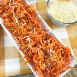 Parmesan Garlic Roasted Carrot Spirals