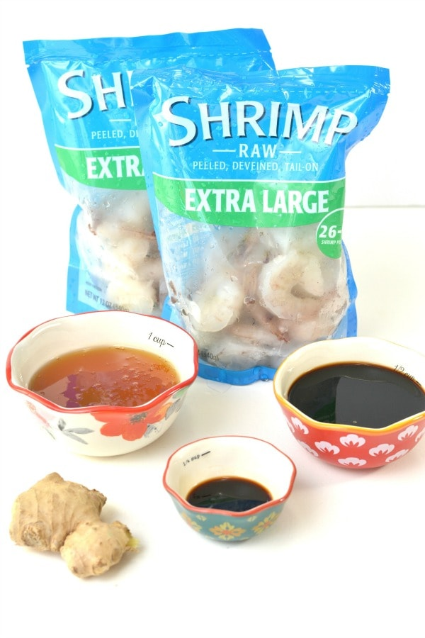 ingredients for soy sauce and honey glazed shrimp