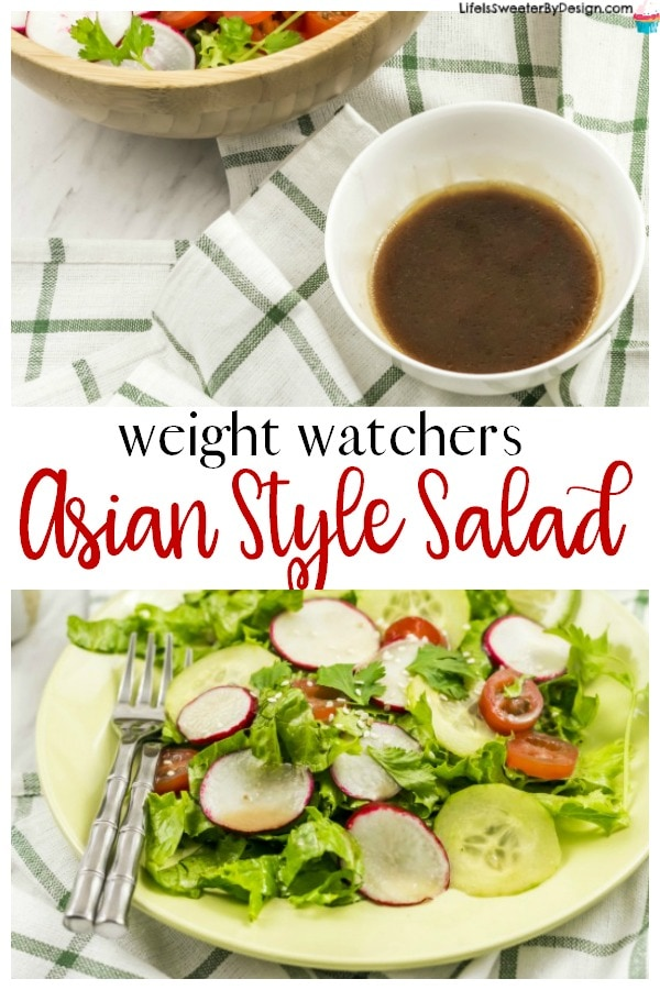 Weight Watchers Asian Style Salad is a great Weight Watchers recipe to change up your veggies! This flavorful low freestyle smartpoints homemade dressing makes all the difference! Plus it only takes minutes to make!