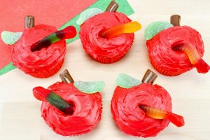 Apple Cupcakes With a Worm for School