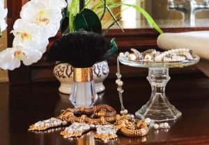 glass jewelry tray with supplies from Dollar Tree