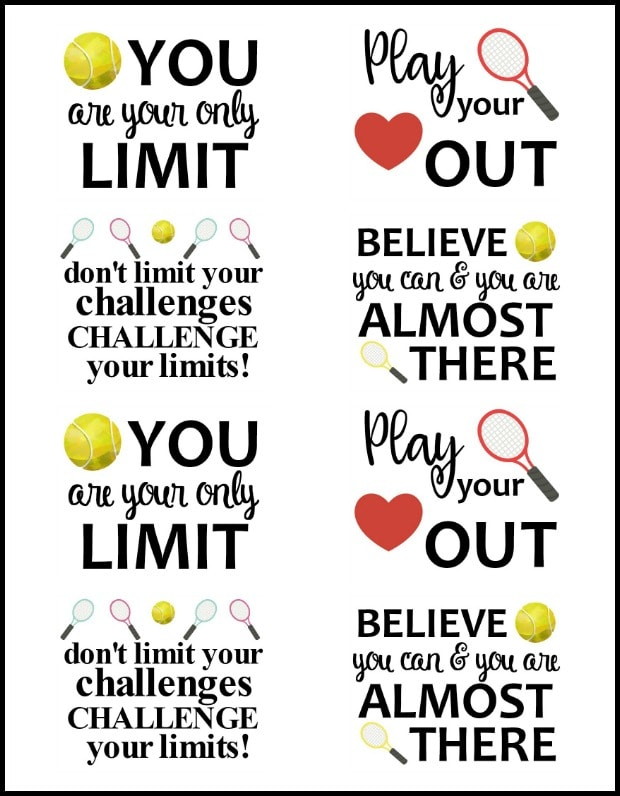 free printable motivational tennis tags